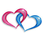 Pink and blue hearts entwined on white background — Stock Photo