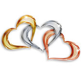 Gold, silver and bronze hearts entwined on white background — Stock Photo