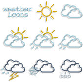 Set of weather icons on white background — Stock Photo