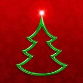 Stylized green christmas tree on decorative background — Stock Photo