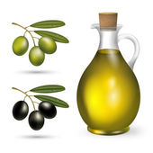 Small bottle of olive oil with green and black olives — Stock Photo