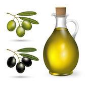 Malá láhev olivového oleje s zelených a černých oliv — Stock fotografie