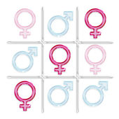 Game of tic-tac-toe with male and female gender symbols — Stock Photo