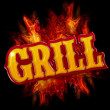 Grill label with flames on black background — Stock Photo #26880569