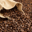 Jute bag on background of coffee beans — Stock Photo