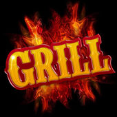 Grill label with flames on black background — Stock Photo