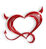 Red heart with tail and horns on white background — Stock Photo