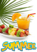 Tropical cocktail with fruit skewers snd summer word — Stock Photo