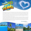 Layout with tropical landscape and heart-shaped cloud — Stock Photo #26893779