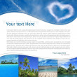 Layout with tropical landscape and heart-shaped cloud — Stock Photo #26894017