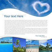 Layout with tropical landscape and heart-shaped cloud — Stock Photo