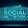 Social networking word cloud on dark blue background — Stock Photo