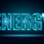 Shiny energy word isolated on a black background — Stock Photo