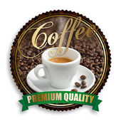 Label of premium quality coffee on white background — Stock Photo