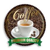 Label of premium quality coffee on white background — Stock Photo