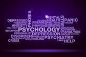 Psychology word cloud on dark purple background — Stock Photo