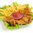 Fried chicken, fries, lettuce and ketchup sauce on white background — Stock Photo #29794699