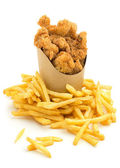 Chicken nuggets and french fries on white background — 图库照片