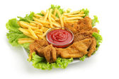Fried chicken, fries, lettuce and ketchup sauce on white background — Stock Photo