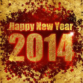 New Year's greetings, gold dust and stars — Stock Photo