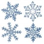 Set of blue icy snowflakes on white background — Stock Photo #34743947