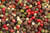 Close up of a background of multicolored peppercorn mix — Foto Stock