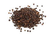 Heap of black peppercorns isolated on white background — Stock Photo
