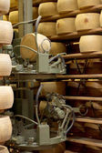 Robot in a maturing storehouse of parmesan cheese — Stock Photo