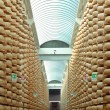 Stock Photo: Maturing storehouse of Italitypical parmescheese