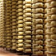 Stock Photo: Shelves of cheese maturing warehouse