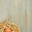 Freshly laid eggs in nest of hay on wooden background — Stock Photo #37386859
