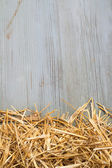 Heap of hay against an old blue wooden wall — Stock Photo