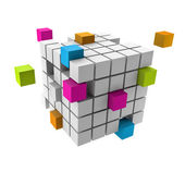 Assembling of a cubic structure with colorful pieces — Stock Photo