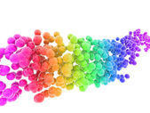 Wave of multicolored bubbles isolated on white background — Stock Photo