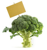Broccoli with a blank placard — Stock Photo