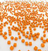 Multitude of orange cubes on white background — Stock Photo