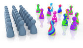 Multi colored pawns opposite to grey ones — Stock Photo