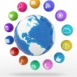 Multimedia icons in circle around the world map — Stock Photo