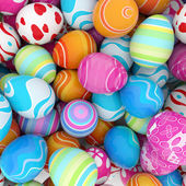 Background of a pile of colorful easter eggs — Stock Photo