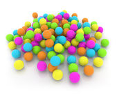 Heap of colorful balls on white background — ストック写真