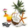 Cocktail, coconut, sunglasses, starfish and palm trees — Stock Photo