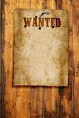 Oeste selvagem queria pôster na parede de madeira — Fotografia Stock