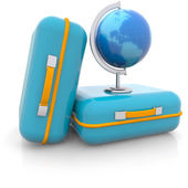 Two suitcases and a globe isolated on white background — 图库照片