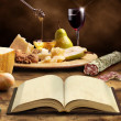 Cookbook and ingredients of the mediterranean cuisine — Stock Photo #47842201