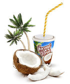 Coconut beverage with fresh coconut and palm trees — Stock Photo