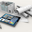 House model, blueprints, tablet and pen — Stock Photo #48545029