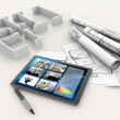 House model, blueprints, tablet and pen — Stock Photo #48545281