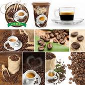 Coleção de imagens de grãos de café e cupfuls de café — Fotografia Stock
