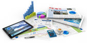 Graphs, tablet and newspaper on white background — Stock Photo