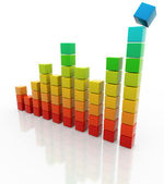 Bar chart made of colorful blocks on white background — Stock Photo